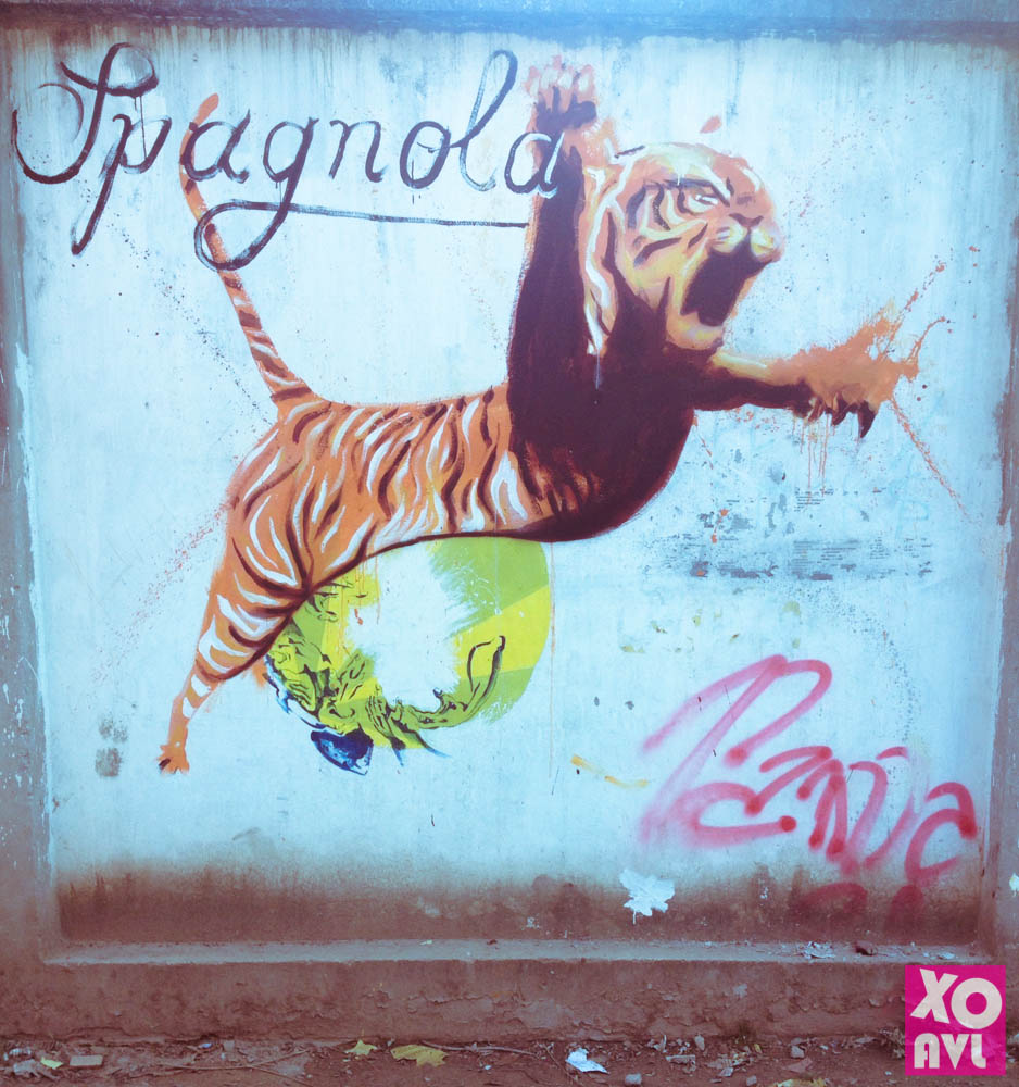 Tiger at the Zoo wall by sattya office by Dustin Spagnola