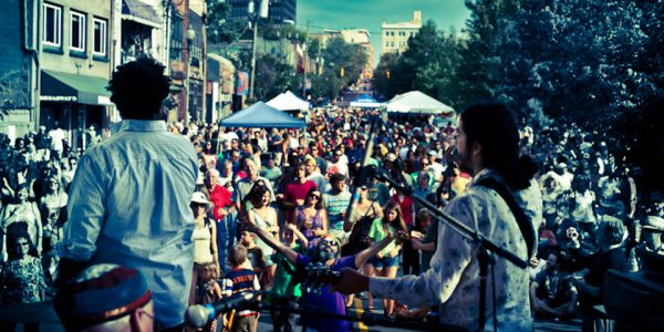 The Secret B Sides Performing in Downtown After 5 in Asheville